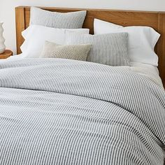 European Flax Linen Classic Stripe Duvet Cover & Shams   West Elm Linen Sheets, Linen Duvet, Cotton Duvet, Modern Duvet Covers, Bed Duvet Covers, West Elm, Striped Quilt, Striped Bedding, Textiles