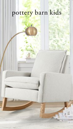 The Paxton Rocking Chair & Ottoman is a contemporary twist on a classic rocker and a modern addition to any nursery. It's carefully crafted from solid, sturdy pinewood for durability that's safe and stylish. The best part? When you're ready to change to a stationary chair, you can remove the rockers and replace them with legs.