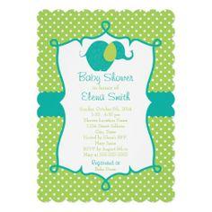 Blue & Lime Polka Dot Elephant Baby Shower Custom Invitations