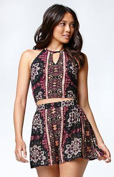 Kendall & Kylie Floral Crochet Trim Halter Tank Top. #kandk4pacsun #pacsun