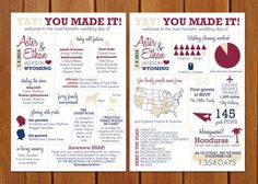 MY FAVORITE!!!! | Dont just give your guests the basics- let them know a little bit more about how your wedding day happened! This fun and informative info graphic is a great way to give your guests the scoop on your big day, from the dress to the RSVPs. This listing is for the double sided 5X7 digital file only (no print goods will be exchanged.). Please note that 5X7 pieces will need to be trimmed to size when printed 2 per 8.5X11 page.