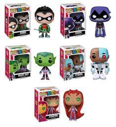 Television: Teen Titans Go! Set of 5 (Robin, Cyborg, Beast Boy, Raven & Starfire) Teen Titans Go Toys, Raven Teen Titans Go, Funko Pop Figures, Vinyl Figures, Robin And Raven, Pop Batman, Disney Pop, Pop Toys, Pop Characters