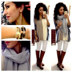 Hello, Gorgeous!: soft grey & tan sweater, cream skinnies, cognac boots, pale scarf