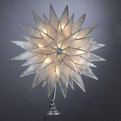 """KSA 9"""" Lighted Capiz Glittered Starburst Christmas Tree Topper - Clear Lights Unlit Christmas Tree Toppers"""