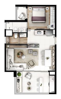 ideas apartment floor plan layout 2 bedroom for 2019 Layouts Casa, House Layouts, Kitchen Layouts, Small House Plans, House Floor Plans, Espace Design, Planer Layout, Floor Plan Layout, Floor Plan Rendering