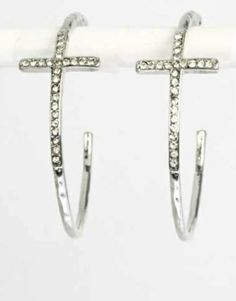 P.S. I Love You More Boutique | Swarovski Crystal Cross Hoop Earrings in Silver | www.psiloveyoumoreboutique.com