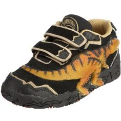I have to get these for Ayden!  How cool are these shoes!  Bottom makes T-Rex foot prints!  And eye on side lights up!