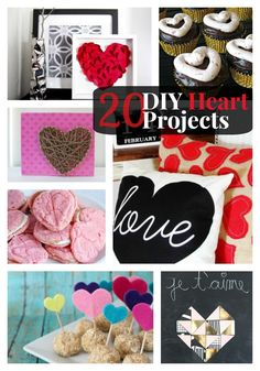 20.DIY. Heart.projects..posted by Jen Tatertots & Jello From decor to recipes, from fabric to paper, there's no better time of year to celebrate love and enjoy decorating your home with hearts!  Here are 20 DIY Heart Projects from the fabulous projects linked up this week!