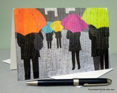 Art Quilt Note Card - Rainy Day People door TerryAskeArtQuilts op Etsy https://www.etsy.com/nl/listing/175315941/art-quilt-note-card-rainy-day-people