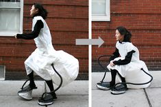 Because who doesn't want a dress that inflates into a chair? Totally needs to be in Un-useless Japanese Inventions