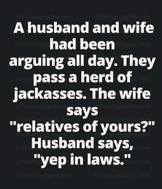 Marital humor, but think they got the names backward. Funny Shit, Haha Funny, Funny Stuff, Funny Posts, Sarcastic Quotes, Funny Quotes, Funny Memes, Memes Humour, Humorous Sayings