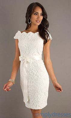 Rehearsal dress - Short Lace Dress with Tied Waist at #SimplyDresses
