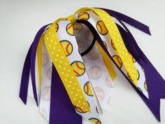 Purple and yellow softball hair ribbons, team hair bows, polka dot ponytail ribbon, softball ribbon hair tie, team sports, softball bow by BurstingCocoonStudio on Etsy https://www.etsy.com/listing/230577803/purple-and-yellow-softball-hair-ribbons