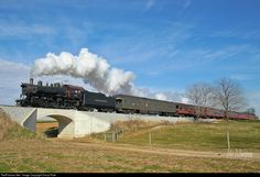 "Norfolk and Western 4-8-0 #475 leads an inbound excursion over the ""Pumpkinville Turnpike"" after just departing Lehman Place in Lancaster County, PA on a beautiful fall afternoon."