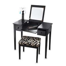 Vanity Set from Bed Bath & Beyond (zebra stool included) for my makeup corner