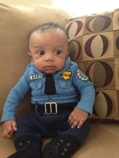 "Toddler Cop Costume ((Branson's costume looks a bit like this. It almost looks JUST like his Daddy's CO uniform. So he borrowed his ""B Donahue"" nametag! lol I can't wait to see him walking around in it Cute Kids, Cute Babies, Baby Kids, 4 Kids, Baby Baby, Cute Baby Costumes, Cop Costume, Sweet Pic, Cutest Thing Ever"