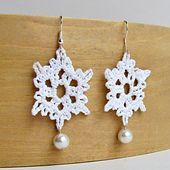 Ravelry: Crochet Snowflake Earrings With Pearl Accent Tutorial pattern by Megan Denham