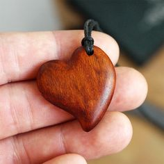 Heart necklace Heart pendant Wood heart Wooden jewelry by BDSart