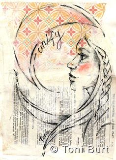 """unify"" graphite sketch in my art journal on mixed media background with old book pages and wallpaper - moon"