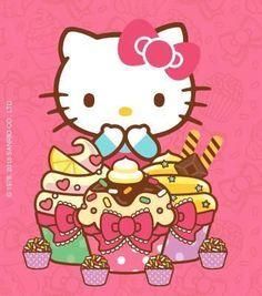Hello Kitty with cupcakes. Images Hello Kitty, Hello Kitty Art, Hello Kitty Items, Hello Kitty Birthday, Sanrio Hello Kitty, Hello Kitty Backgrounds, Hello Kitty Wallpaper, Little Twin Stars, Keroppi