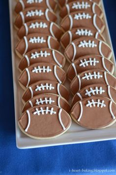 football sugar cookies decorated with royal icing