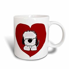 3dRose mug_201825_1 Fun White Old English Sheepdog Puppy Dog and Red Heart Love Ceramic Mug 11 oz White -- To view further for this item, visit the image link.