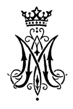 1 x 1.5 inch RUBBER STAMP - Ave Maria / Auspice Maria / Medieval Monogram Symbol…