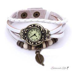 Leder Armbanduhr  Vintage Blatt  weiß  im Organza Beutel