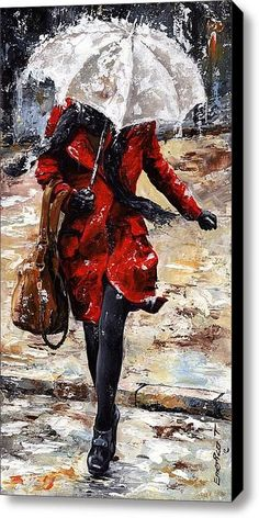 Pinturas que me gustan: mujer de rojo debajo de paraguas blanco
