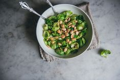 warm brussels sprout salad with marcona almonds.