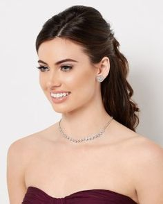 Shimmery Chevron Necklace Set