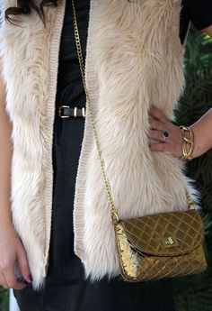 Faux leather and fur vest #style #clothing #fashion #weather #trend