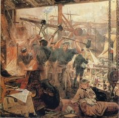 Iron and Coal, William Bell Scott. Shows of how thing really were during the Industrial Revolution and the strugle