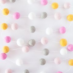 Felt Ball Garland in Hipster Girl - perfect for the nursery, kids room or fun party decor! #PNshop