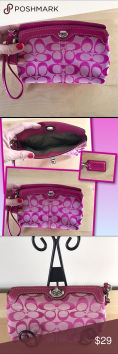 Coach Pink Signature Clutch Coach Signature Pink Turn Lock Clutch similar to a small wristlet but its larger. It's has a interior pocket and lots of room for all your belongings. It looks new but it's been gently used and loved looking for a new home it's been in a smoke free environment.  Coach Bags Clutches & Wristlets