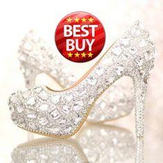 Cheap 2015 hechos a mano de cristal de plataforma tacones altos zapatos de boda elegante de plata rhinestone bombas cuero genuino.
