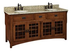 "Amish 72"" Lancaster Mission Bathroom Double Vanity Cabinet"