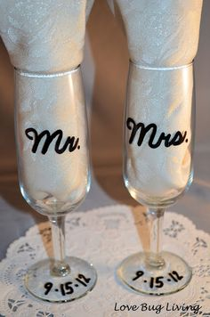 "Cute DIY wedding glasses. ""Mr"" could be in silver writing ""Mrs"" could be in pink writing or whatever your colours are :)"