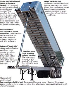 EAST ALUMINUM FRAME DUMP TRAILERS  The East frame dump trailer is designed for the ideal balance between low weight for more payload and heavy-duty strength for durability.