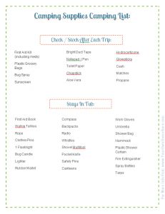 Camping Supplies Packing List: Part of the Ultimate Family Camping Packing List With Printables from Your Own Home Store: http://www.yourownhomestore.com/family-camping-list/