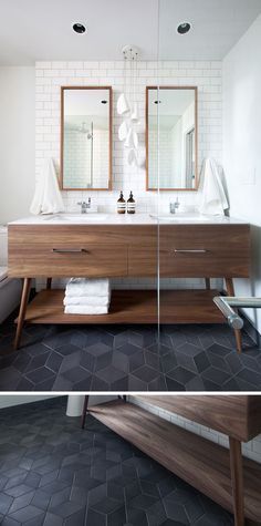 8 Examples Of Tile Flooring With Geometric Patterns // Dark textured diamond tiles make up the floor of the bathroom in this apartment.