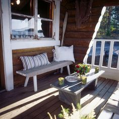 Image by Tulikivi - Photobucket. The spot to cool down after sauna or a jump into the water in Finland Sauna Design, Finnish Sauna, Outdoor Balcony, Log Cabin Homes, Cozy Cabin, Solid Wood Furniture, Cottage Living, Porch Swing, Scandinavian Style