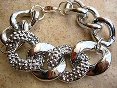 Pave Crystal Rhinestone Silver Link and Silver Chunky Curb Chain Bracelet...Stack 'em Up   by CelebrityTrendz, $22.00