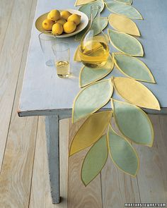 Beautiful Summer Leaf Table Runner - great for using fabric scraps :-)