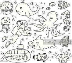 A doodle page of sea creatures. Sea Animals Drawings, Cartoon Sea Animals, Creature Drawings, Doodle Pages, Doodle Art Journals, Doodle Drawings, Easy Drawings, Easy Fish Drawing, Fish Drawing For Kids