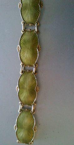 Ivar T. HOLTH Norway Sterling Vermeil Green Guilloche Enamel Bracelet Vintage Clothing, Vintage Jewelry, Vintage Outfits, Enamel Jewelry, Silver Jewelry, Enamels, Norway, Scandinavian, Jewels