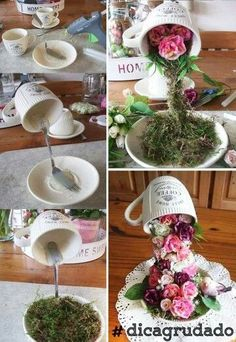 New Ideas wedding table decorations diy centerpieces floral arrangements Flower Crafts, Diy Flowers, Paper Flowers, Pretty Flowers, Home Crafts, Diy And Crafts, Floating Tea Cup, Christmas Crafts, Christmas Decorations