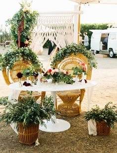 Coastal California Wedding with peacock chairs