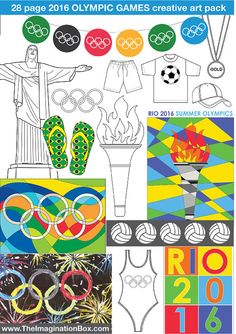 The ImaginationBox: Olympic art activities for kids. Detailed, creative 30 page Rio Olympic Games 2016 Art Activity Pack for kids. Colouring templates, activity sheets, garlands to make. Instant pdf download