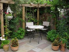 Courtyard Patio | Courtyard Garden. Like the corner pergola and shade trees.